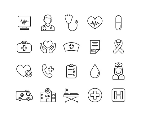 Medical thin line icon set with editable stroke. Cardiology outline collection. Health care icons. Vector illustration.