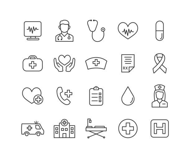 편집 가능한 스트로크로 설정된 의료 적 선 아이콘. 심장학 개요 수집. 건강 관리 아이콘. 벡터 그림입니다. - doctor stock illustrations