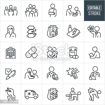 A set of medical icons that include editable strokes or outlines using the EPS vector file. The icons include a team of doctors, a family of four, person with a broken arm, doctor checking blood pressure of patient, nurse, broken spine, telemedicine on a smartphone, doctor at bedside of patient, doctor holding x-ray, hospital, bandage with heart, family with new born, pill bottle with pill, doctor giving check-up, checkmark, doctor checking patients heart with stethoscope, hurt knee, doctor checking patients chart, broken hip, ambulance, physical therapy, person with hurt back and others.