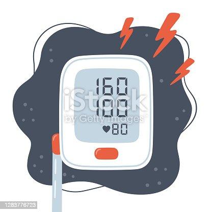Medical tonometer and high blood pressure. Risk of hypertension. Electronic blood pressure monitor. Digital sphygmomanometer. Vector illustration