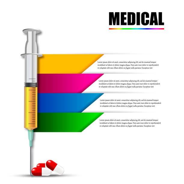 Das medizinische Werkzeug Spritze mit Medizin. Infografiken – Vektorgrafik