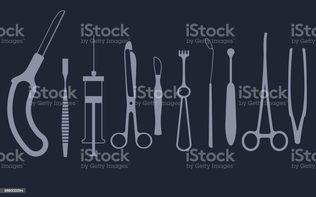 Medical tools set vector art illustration