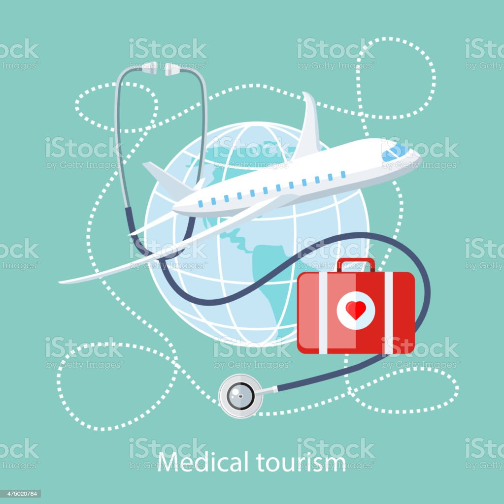 Medical Tourism. Icon of Traveling and Treatment vector art illustration