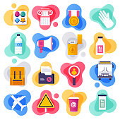 Medical tourism and public health liquid flat flow style concept symbols. Flat design vector icons set for infographics, mobile and web designs.