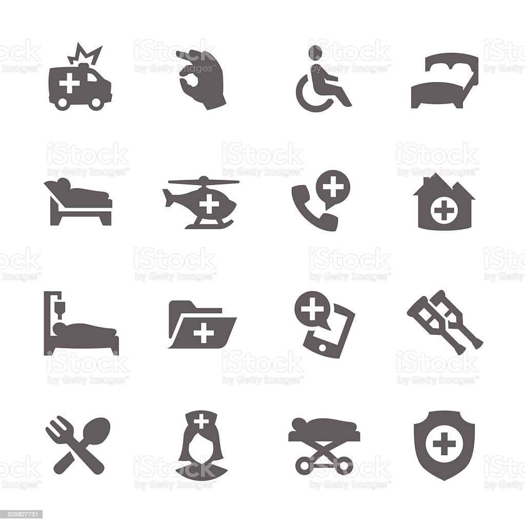 Medical Transportation Icons vector art illustration