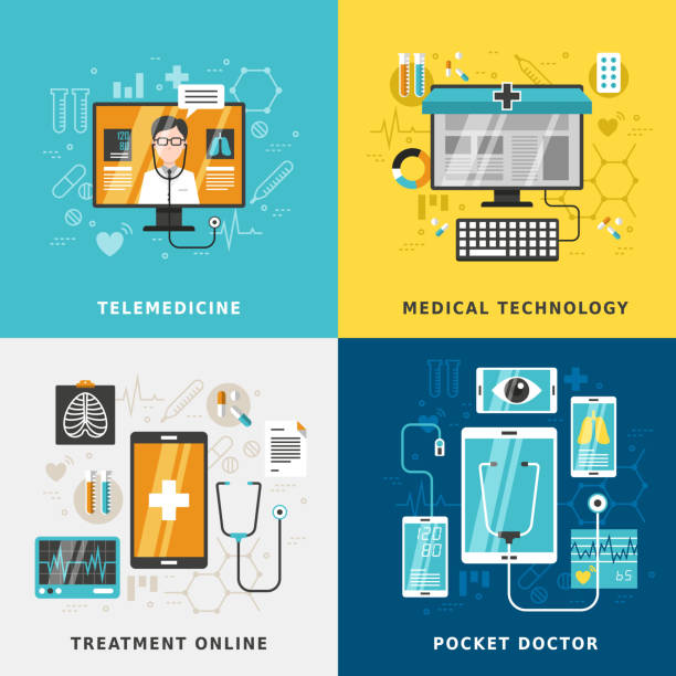 medical treatment online - telemedicine stock illustrations