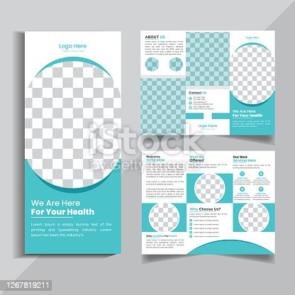 istock Medical Tri fold brochure design. Cyan corporate business template for tri fold flyer. Layout with modern circle photo and abstract background. Creative concept 3 folded flyer or brochure design. 1267819211