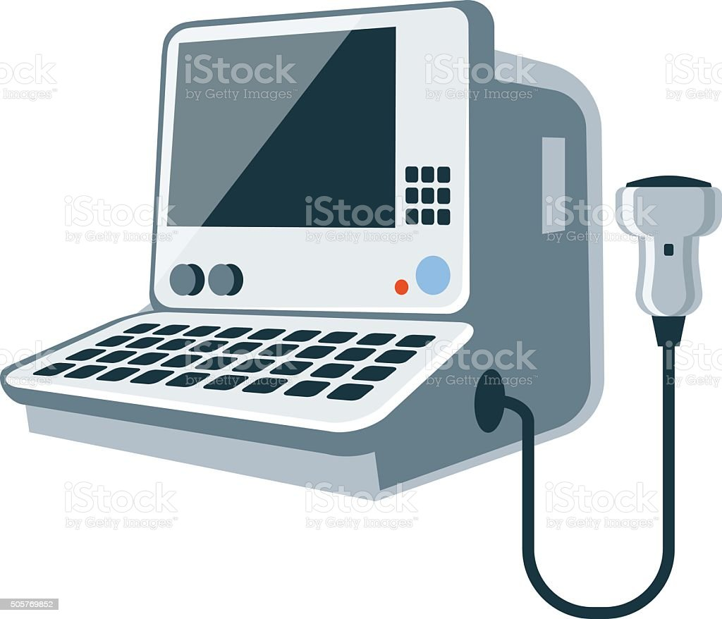 Medical ultrasonic diagnostic machine vector art illustration