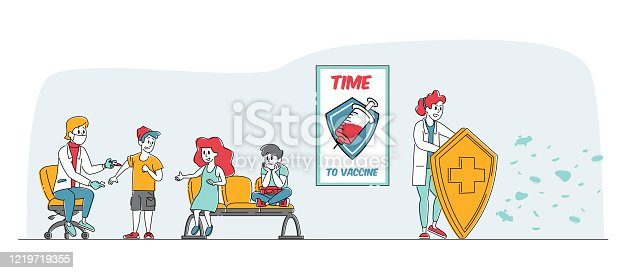 Medical Vaccination Concept. Doctor Character Holding Huge Shield Protecting Nurse Making Vaccine Dose Shot to Kids Protecting from Viruses, Health Immunization. Linear People Vector Illustration