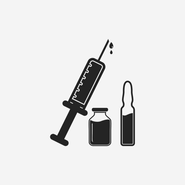 앰벌 및 주사 기호가있는 의료 백신 아이콘. 편집 가능한 벡터 eps 기호 그림입니다. - 앰풀 stock illustrations