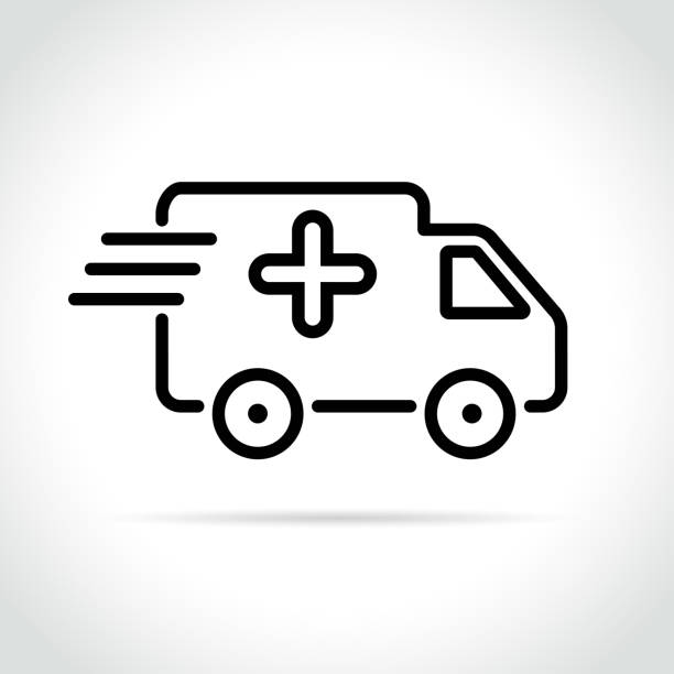 medical van icon on white background vector art illustration