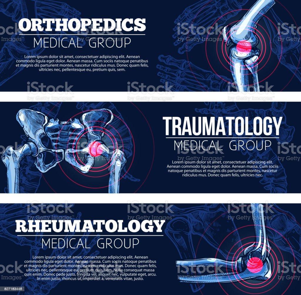 Medical vector banners orhtopedics, traumatology vector art illustration