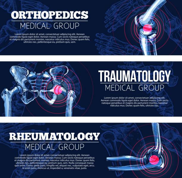 ilustrações, clipart, desenhos animados e ícones de médica vector bandeiras orhtopedics, traumatologia - ortopedia
