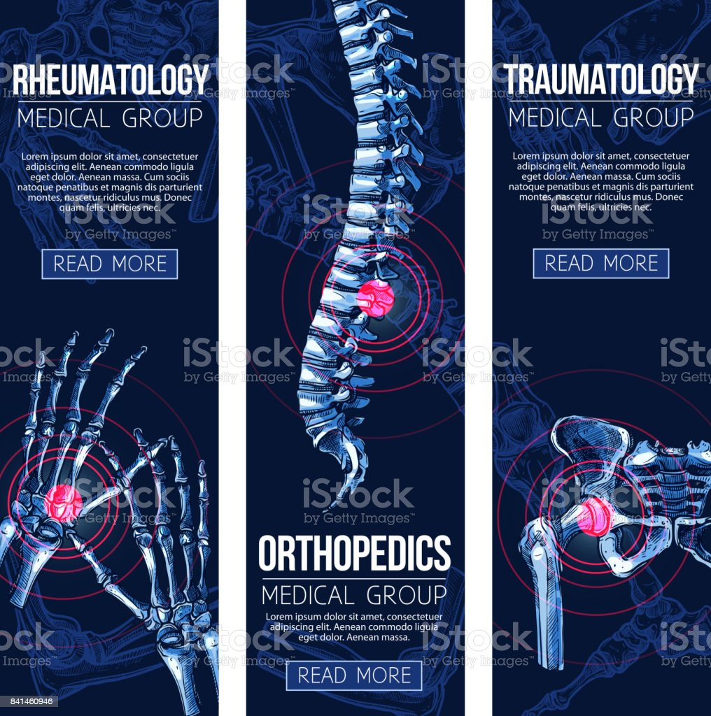 Medical vector banners rheumatology traumatology vector art illustration