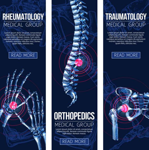 ilustrações, clipart, desenhos animados e ícones de médica vector bandeiras reumatologia traumatologia - ortopedia