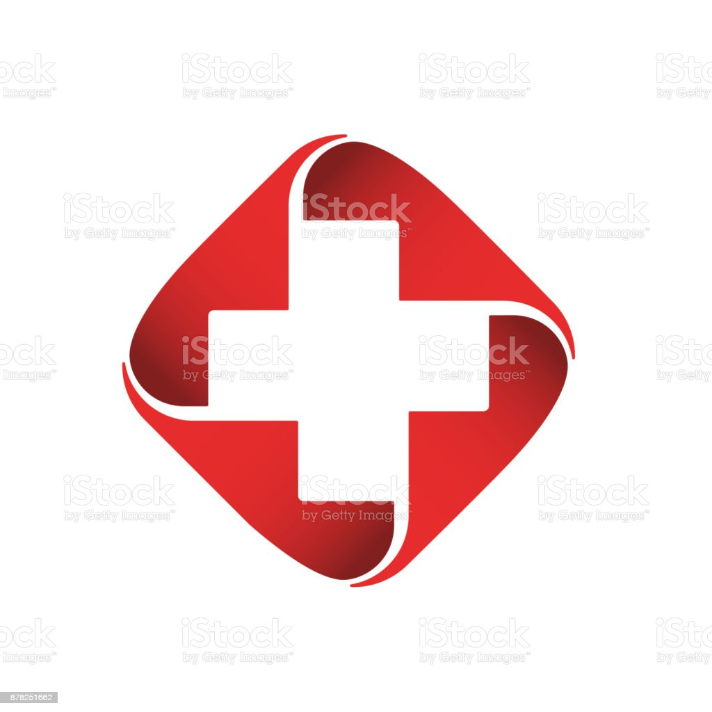 Medical vector icon. Red cross icontype vector art illustration
