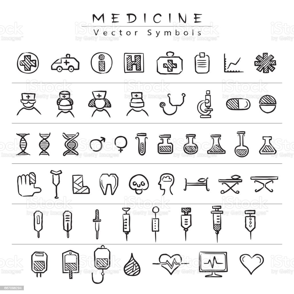 Medical vector symbols - icons. A set of black hand drawings on medicine services on a white background. vector art illustration
