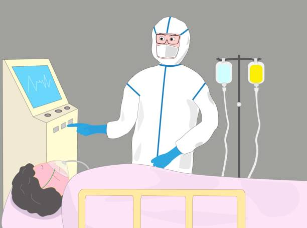 stockillustraties, clipart, cartoons en iconen met medisch virus - ventilator bed