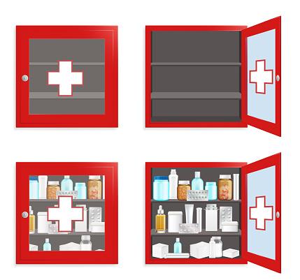 Medical wall box set, vector flat isolated illustration