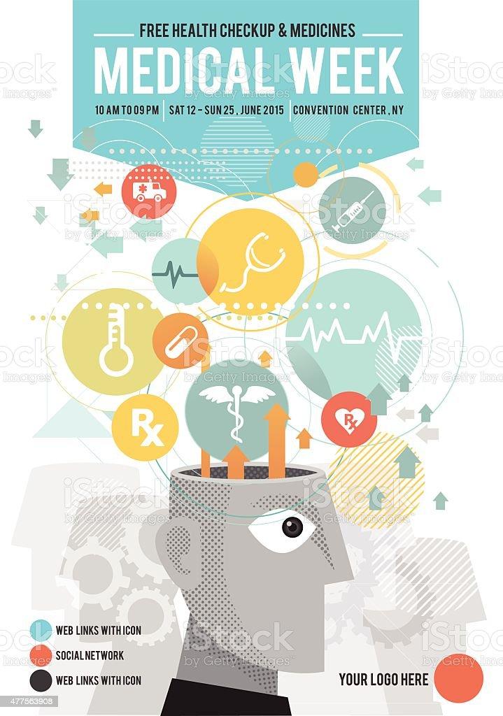 Medical week poster vector art illustration
