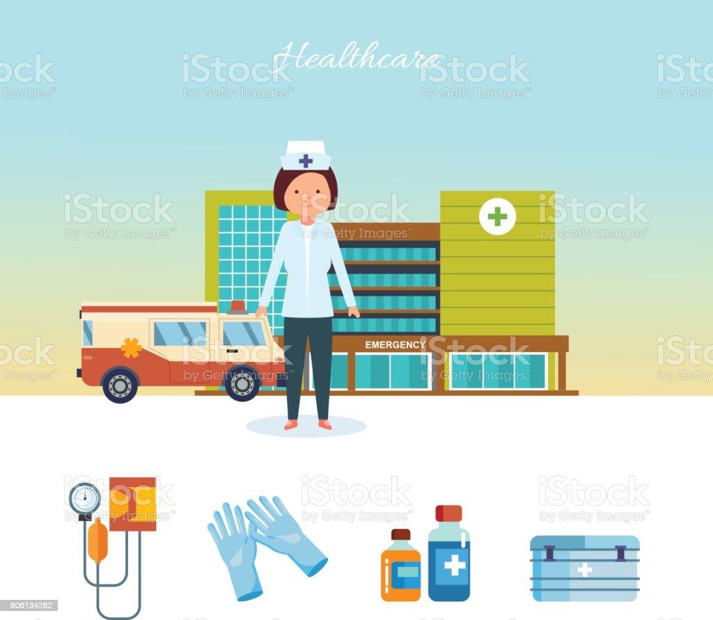 Gesundheitswesen medizinische Arbeiter, gegen Krankenhaus-Gebäude und Stadt-Straßen – Vektorgrafik