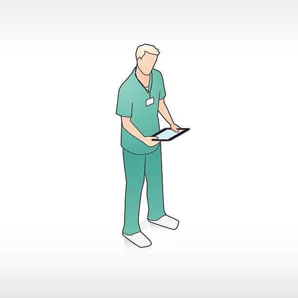 illustrations, cliparts, dessins animés et icônes de travailleur médical avec tablette illustration - infirmier