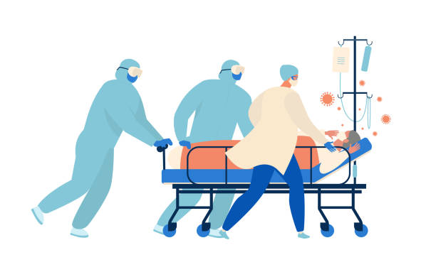 ilustrações de stock, clip art, desenhos animados e ícones de medical workers, doctors and a nurse are running for a stretcher with an elderly patient in intensive care resuscitation. concept of coronavirus quarantine vector illustration. - covid hospital