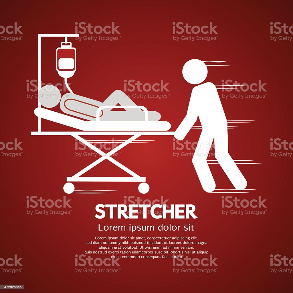 Medical Workers Moving Patient On Stretcher vector art illustration