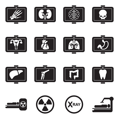 Medical X-Ray Icons. Black Flat Design. Vector Illustration.