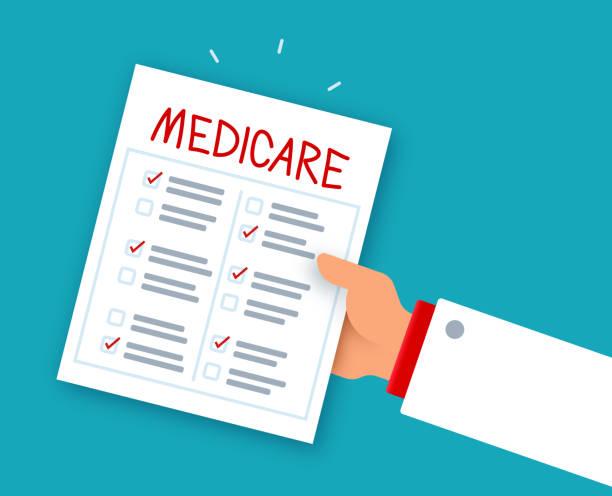 Medicare Health History Checklist Doctor Doctor's hand giving Medicare health history checklist. medicare stock illustrations