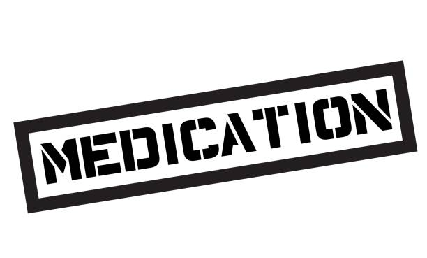 stockillustraties, clipart, cartoons en iconen met medicatie typografische stempel - stickers met relief
