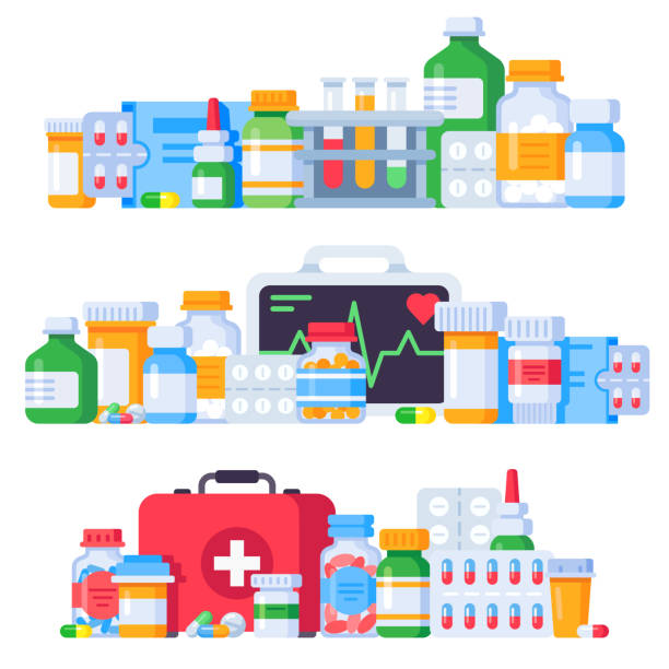 illustrazioni stock, clip art, cartoni animati e icone di tendenza di medications. medicine pills, pharmaceutical medication bottle and antibiotic pill. pharmacy drugs isolated vector illustration set - antidolorifico