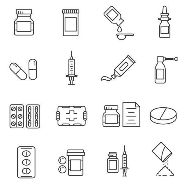 illustrazioni stock, clip art, cartoni animati e icone di tendenza di medications pharmaceutical drugs in different packages. editable stroke - dose