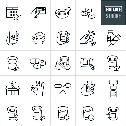 A medications icons that include editable strokes or outlines using the EPS vector file. The icons include a calendar with pills as a reminder to take medication, hand holding a prescription card, mortar and pestle, pills, capsules, pills on a smartphone to represent filling prescription online, hand with an IV, hand holding a pill bottle, payment for medications, syringe and vial, diabetes medication, insulin, glass of water with pills, prescription pills safety, tipped over pill bottle, spilled pills, pill bottle with pills siting next to it, pharmacy, hand holding a medicine capsule, natural medicine vs pills, hand holding a vial of medication, syringe drawing medication from a vial, cost of medication, prescription refill and other related icons.