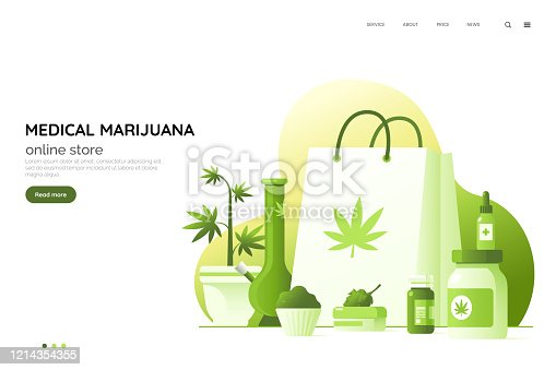 Medicinal cannabis preparations vector illustration. Medical marijuana online store web page concept. Set of therapeutic ointments, oils, etc. CBD based cosmetics kit. Element for your design.