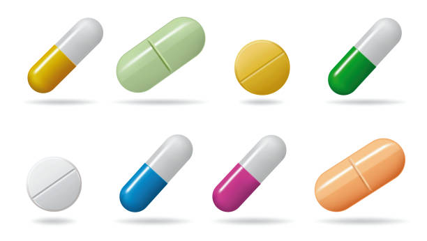 illustrazioni stock, clip art, cartoni animati e icone di tendenza di medicinal tablets. set tablets of different colors. isolated objects on white background - farmaco