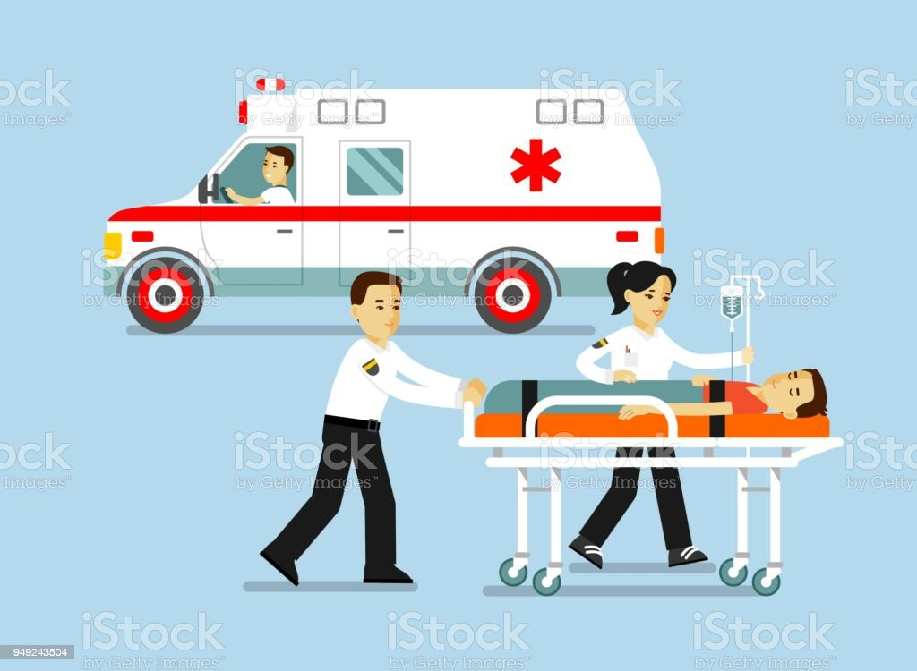 Medicine ambulance concept in flat style isolated on blue background. vector art illustration
