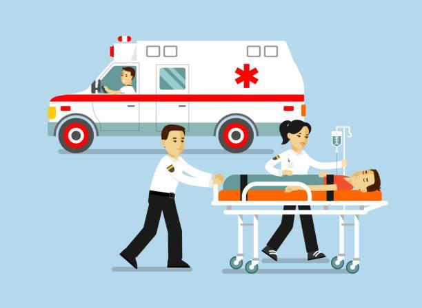 青の背景に分離されたフラット スタイルで医学救急車のコンセプトです。 - 救急救命士点のイラスト素材/クリップアート素材/マンガ素材/アイコン素材