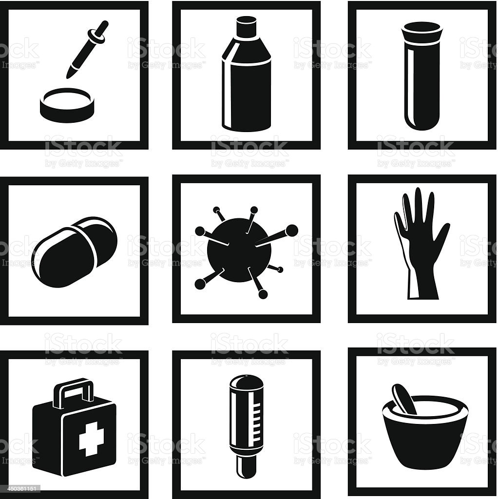Medicine and Health black icons royalty-free stock vector art