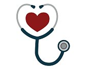 istock Medicine and health care concept, stethoscope heart shape. Vector 1207462669