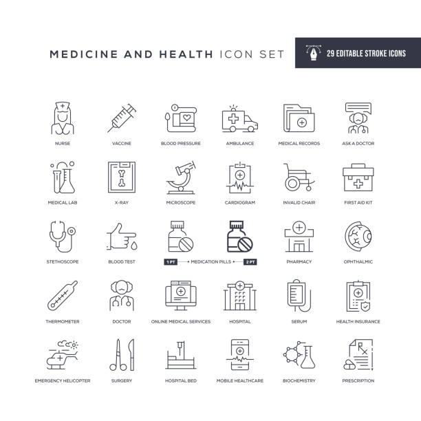 Medicine and Health Editable Stroke Line Icons 29 Medicine and Health Icons - Editable Stroke - Easy to edit and customize - You can easily customize the stroke with medical research stock illustrations