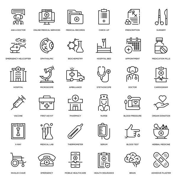 stockillustraties, clipart, cartoons en iconen met geneeskunde en gezondheid icon set - chirurgie