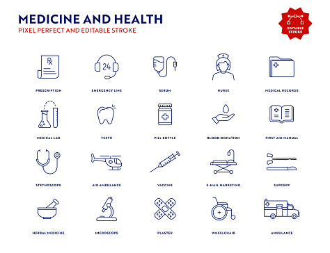 Medicine and Health Icon Set with Editable Stroke and Pixel Perfect.