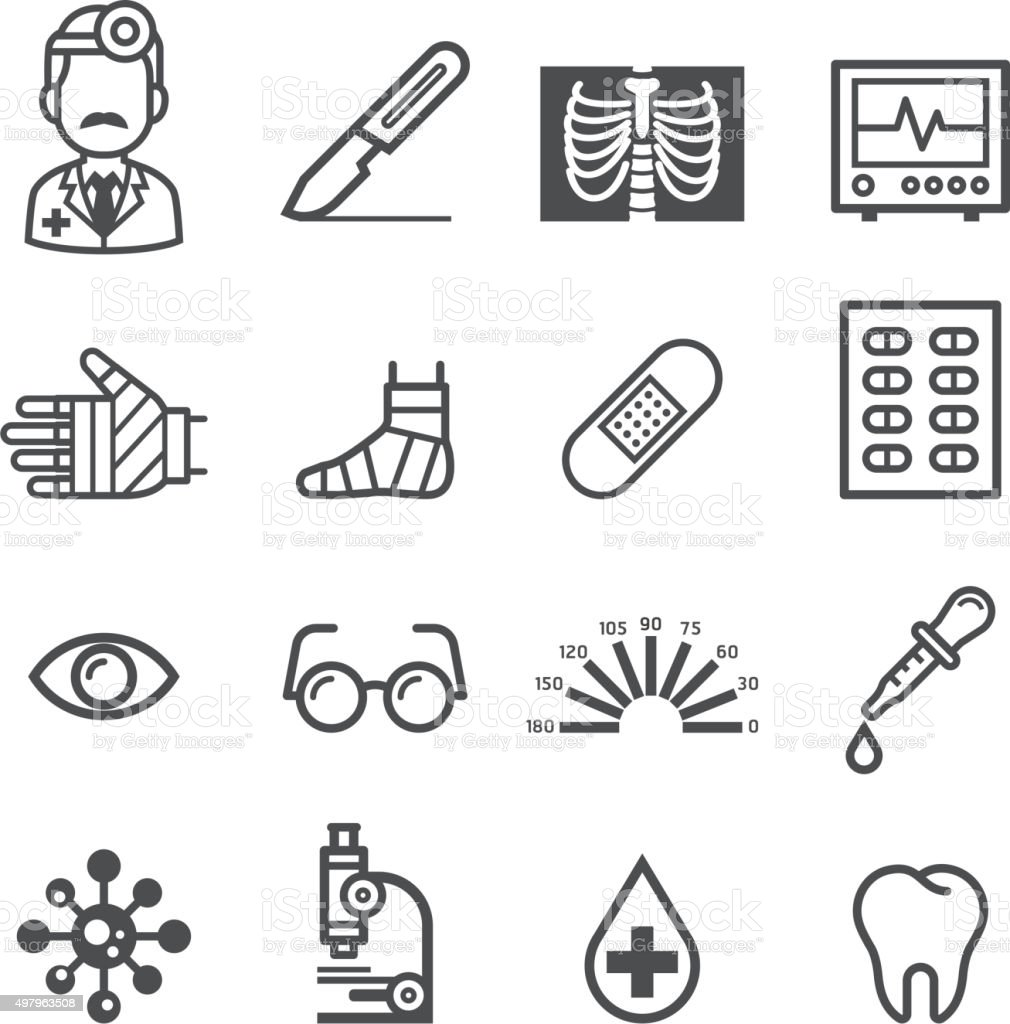 Medicine and Health icons. vector art illustration