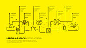 Medicine and Health Infographic Design. Vector banner with 9 options, steps, parts