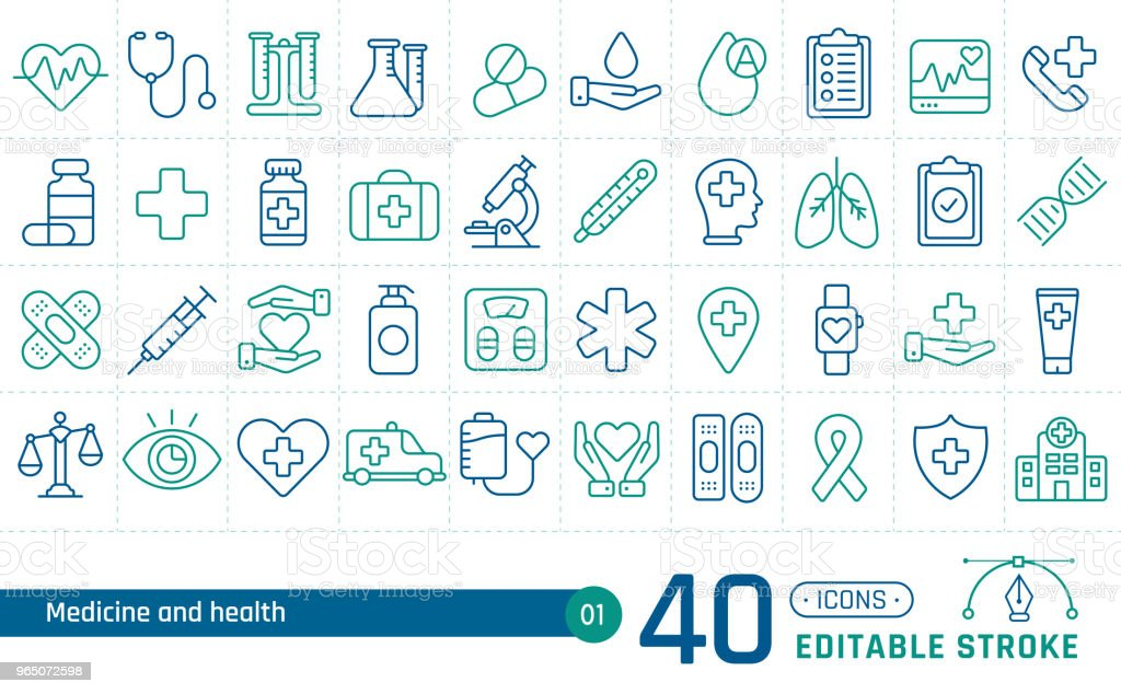 Medicine and health line icons set. Suitable for banner, mobile application, website. Editable stroke royalty-free medicine and health line icons set suitable for banner mobile application website editable stroke stock vector art & more images of ambulance