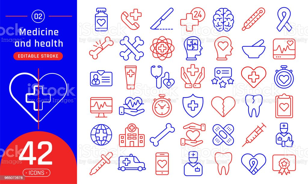 Medicine and health line icons set. Suitable for banner, mobile application, website. Editable stroke medicine and health line icons set suitable for banner mobile application website editable stroke - stockowe grafiki wektorowe i więcej obrazów ambulans royalty-free