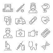 Medicine and Health symbols. Vector thin lines web icon set.