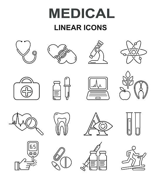 Medicine and health vector black line style icon set. – Vektorgrafik
