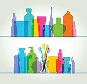 Medicine cabinet with colourful overlapping Medicine and health/beauty silhouettes. EPS10, file best in RGB, CS5 version in zip.